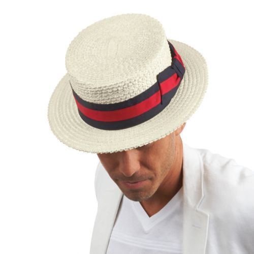 16c6a61890eb3 Boater Shape. 100% Straw. Removable Feather. Small = Approximate Hat Size 6  3/4 - 6 7/8. Large = Approximate Hat Size 7 1/4 - 7 3/8. Extra Large ...