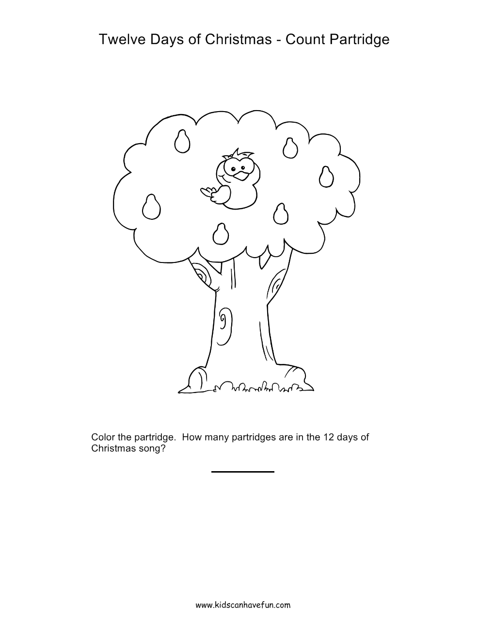 Twelve Days Of Christmas Partridge In A Pear Tree Counting And Coloring Worksheet Http Www Kidscanhavefun Com Twelve Days Of Christmas Activities Htm 12dayso [ 1319 x 1019 Pixel ]