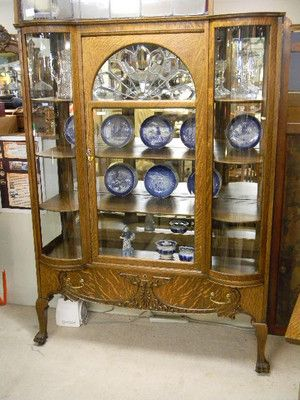 Quarter Sawn Oak Leaded Beveled Glass Curved Glass China Cabinet Refinished  | EBay