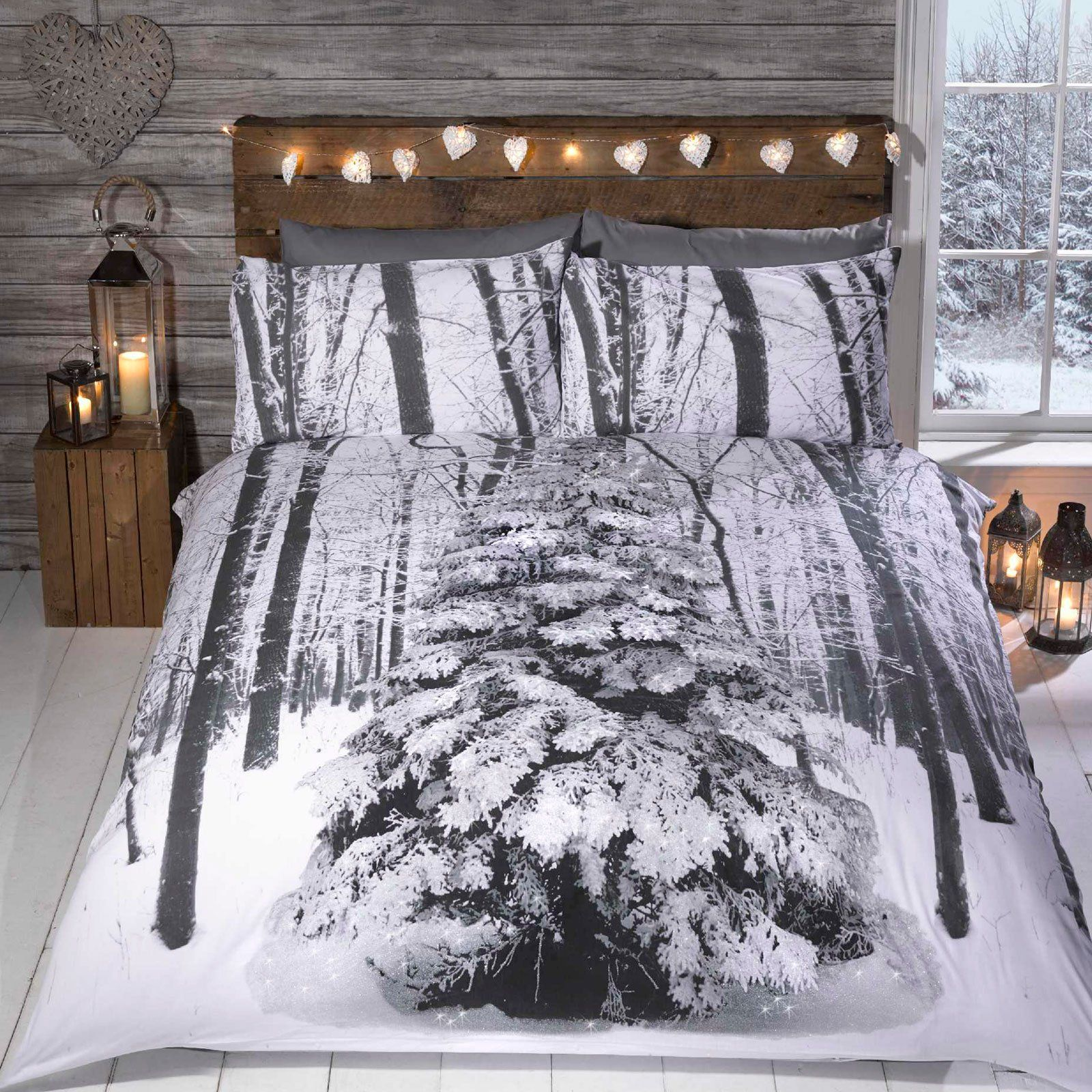 snowy christmas tree christmas duvet cover with glitter design for snow u2013 single u0026 double starting at