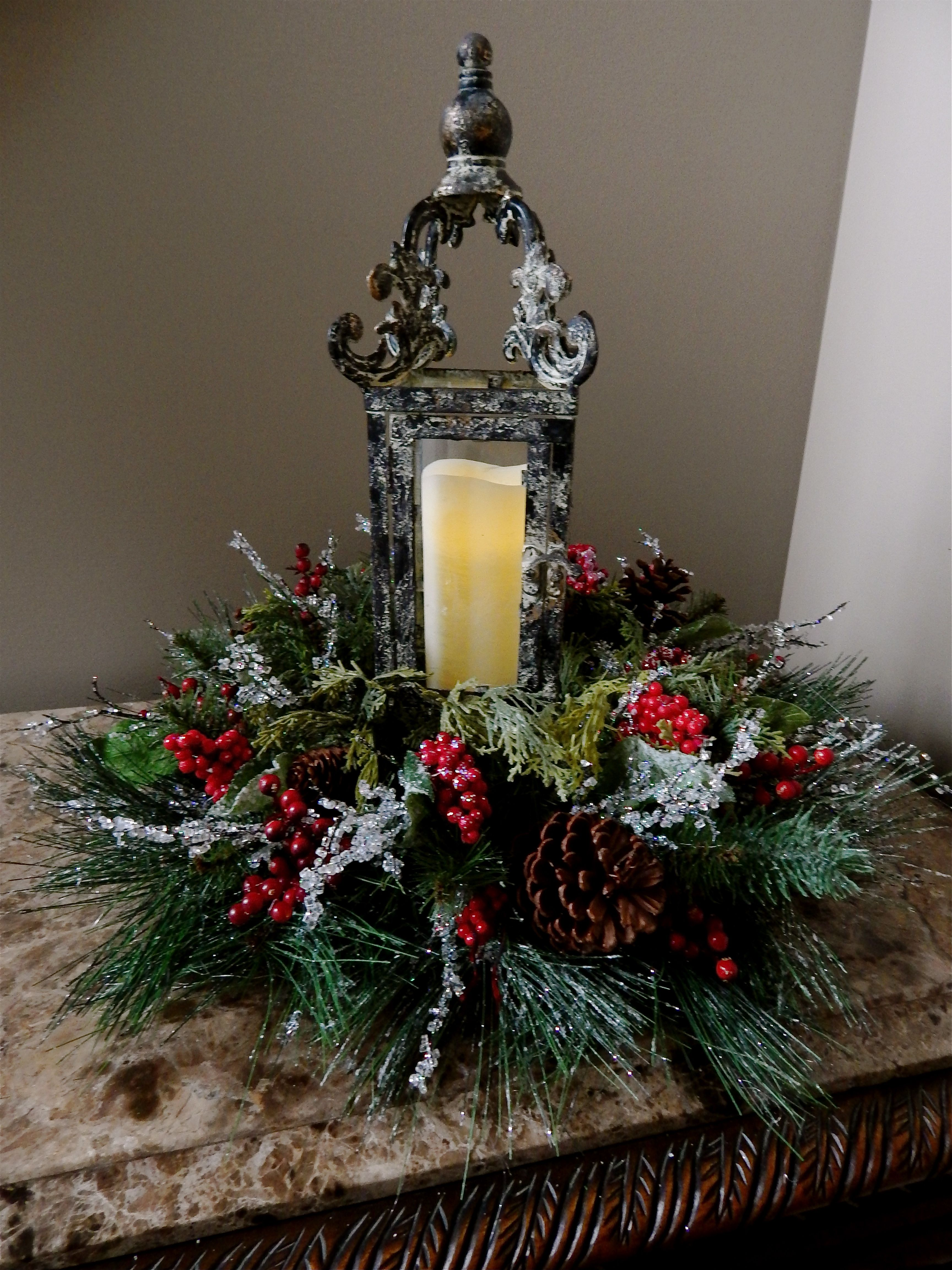 Lantern centerpiece christmas pinterest