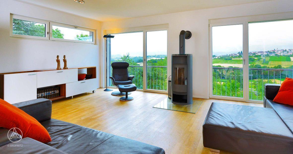 Bauhaus wohnzimmer baufritz muster
