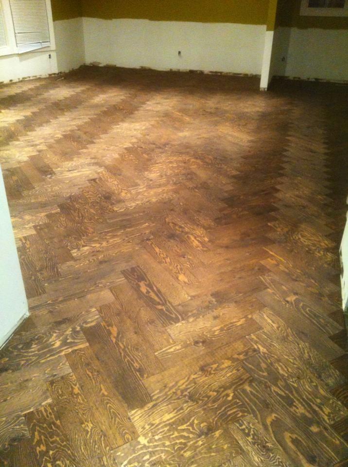 Rustic Herringbone Floor Made From Plywood Hmmmmm