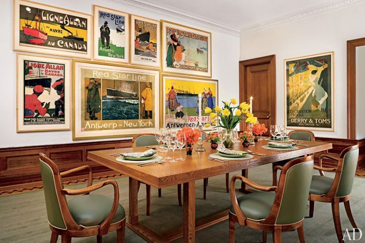 VINTAGE POSTERS GRAPHIC ART IN MODERN SPACES Traditional Dining RoomsVintage