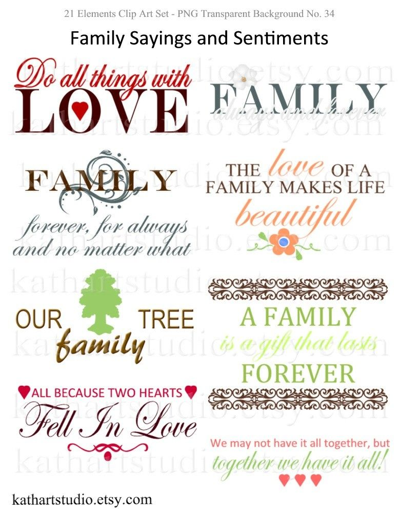 Instant Download - Family Sayings and Sentiments Clipart for ...