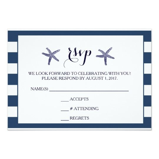 Wedding RSVP Beach Starfish Nautical Card