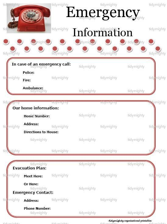 Printable+Emergency+Contact+List+Template Amazing Pinterest - contact information template