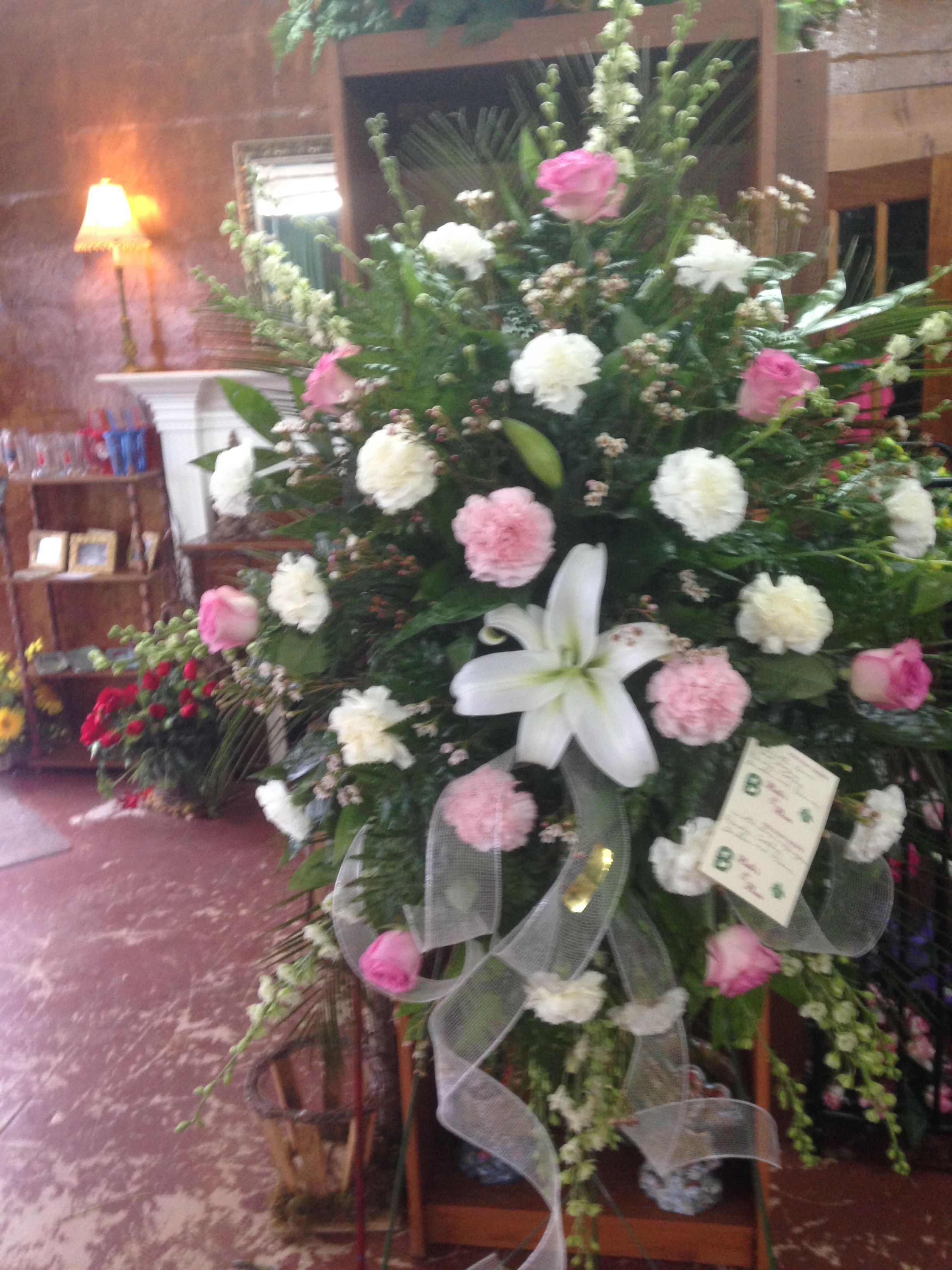 Fresh Funeral Spray Using White Larkspur White Lily White Carnations Pink Carnations Pink Roses And Pink Wax White Larkspur Flowers For You White Carnation