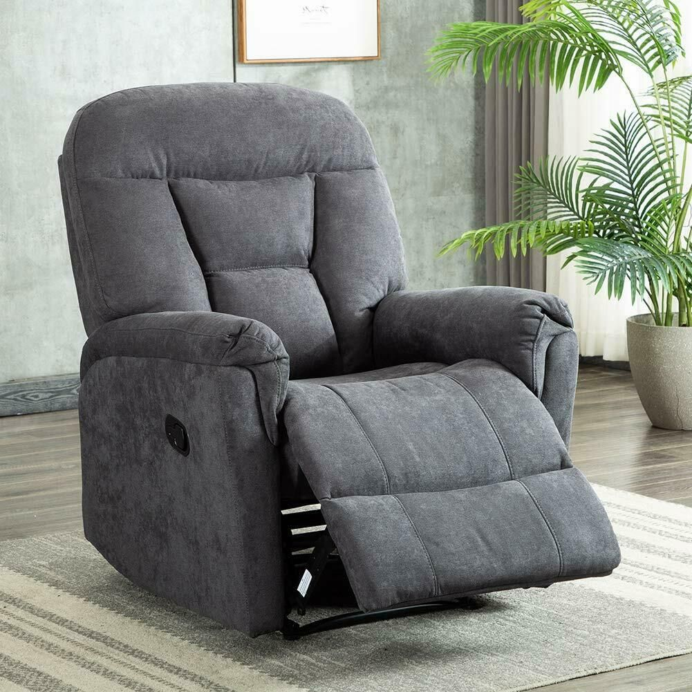 Fabric Recliner Chair Overstuffed Armchair Lounge Seat Living Room Sofa Gray Microfiber Couch Ideas Of Microfiber Couch In 2020 Recliner Furniture Acme Furniture