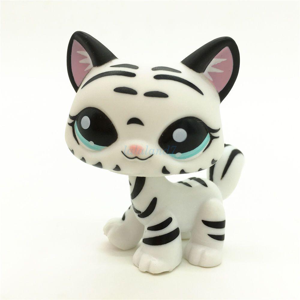 Littlest Pet Shop 1498 Black White Tiger Striped Short Hair