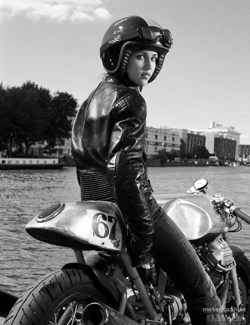 Katrien on Moto Guzzi Amsterdam, 2004  black and white photography, woman on motorcycle,  vintage,  café racer, art