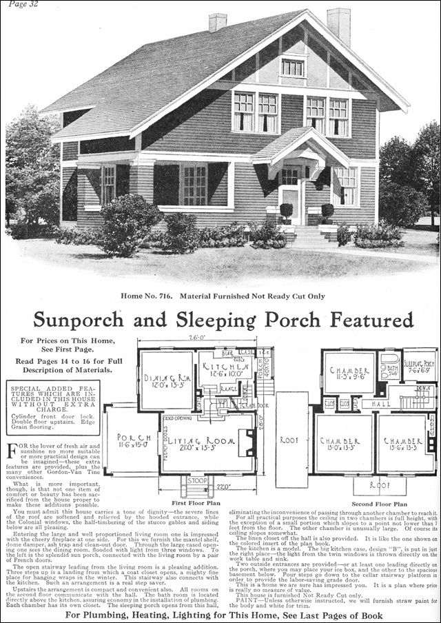 1918 Gordon Van Tine Model No 716 Two Story Arts House Plans Vintage House Plans House Floor Plans