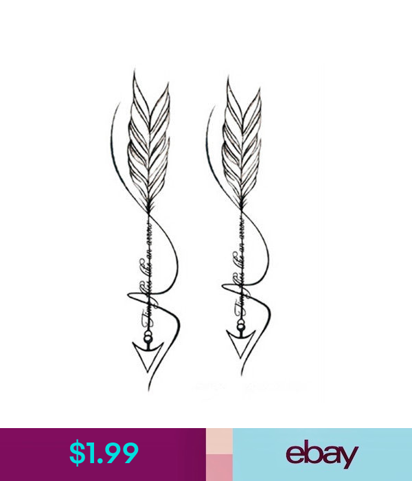Waterproof Temporary Fake Tattoo Stickers Cool Grey Feather Arrow Design Ebay Fashion Feather Tattoos Fake Tattoos Arrow Tattoos
