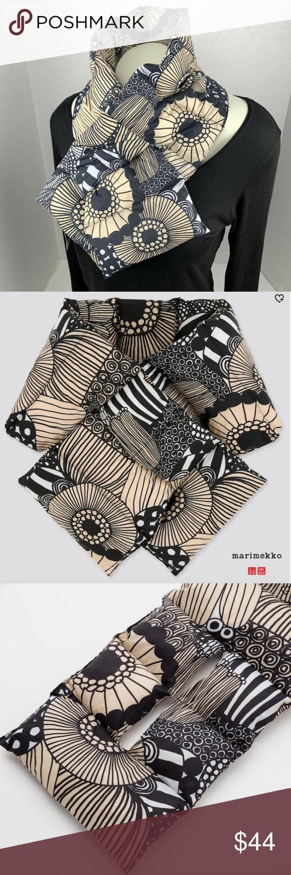Marimekko x Uniqlo Padded Scarf Black Tan Floral NWT