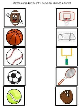 Sports Matching Game Sports Theme Classroom Sports Games For Kids Sports Themed Lessons