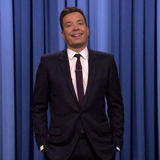 Jimmy Fallon-Black suit-white shirt-Purple tie-Tonight show-E229