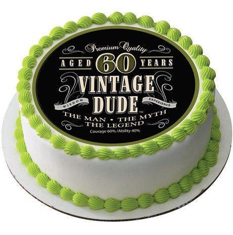 Vintage Dude 60th Edible Birthday Cake Topper OR Cupcake Decor
