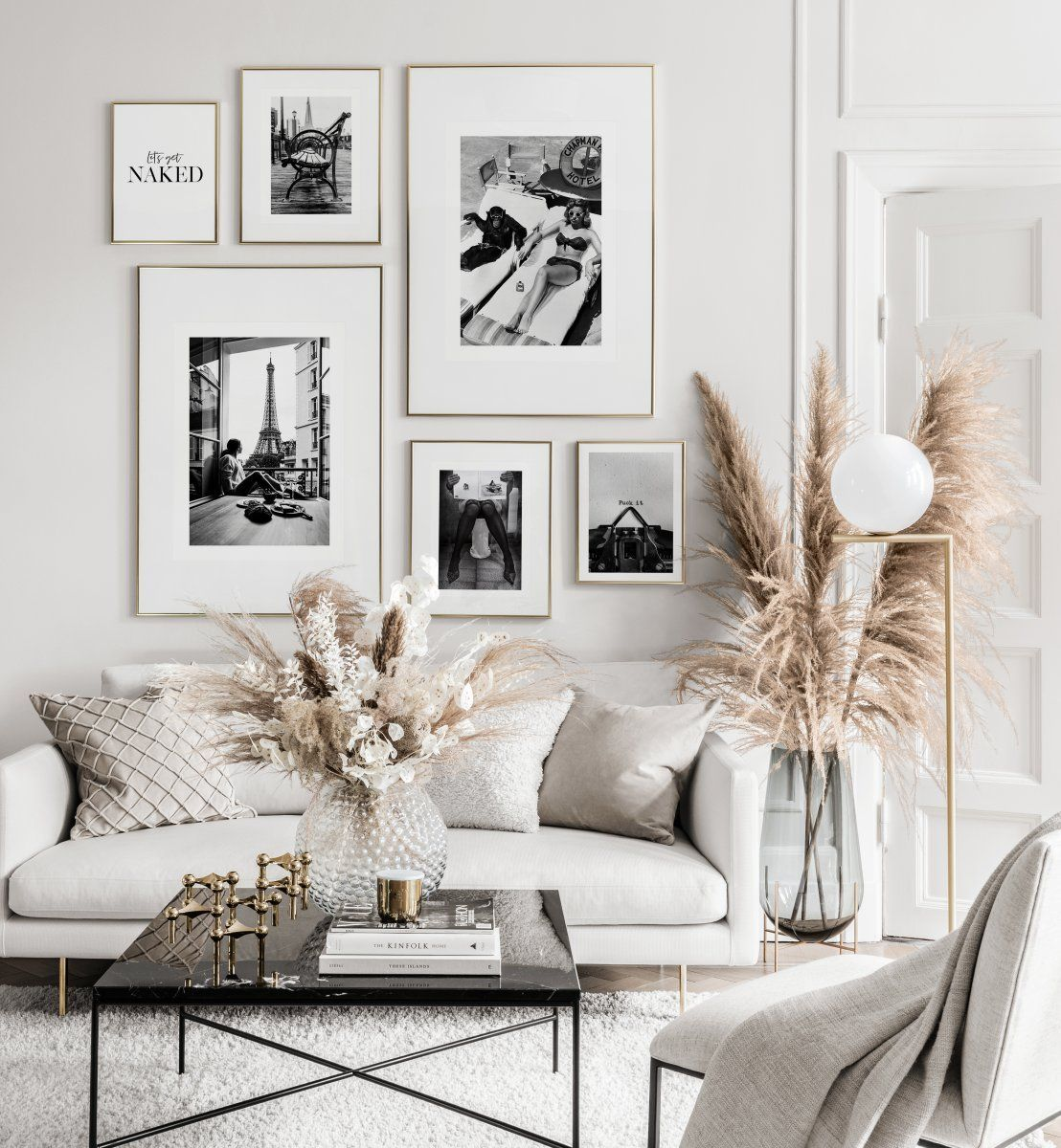 Minimalist Black And White Picture Wall Gold Frames Gallery Wall Living Room Living Room Inspo Apartment Decor