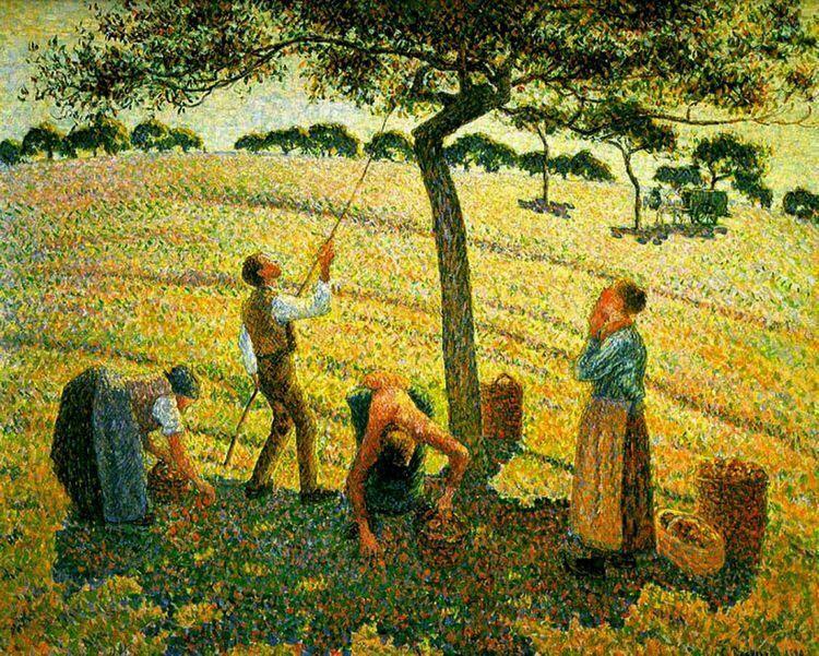 Camille Pissarro「Apple Picking at Eragny-sur-Epte「(1888)