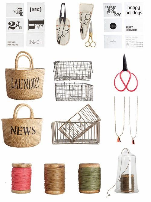 baskets, scissors, envelopes and colourful threads - house love