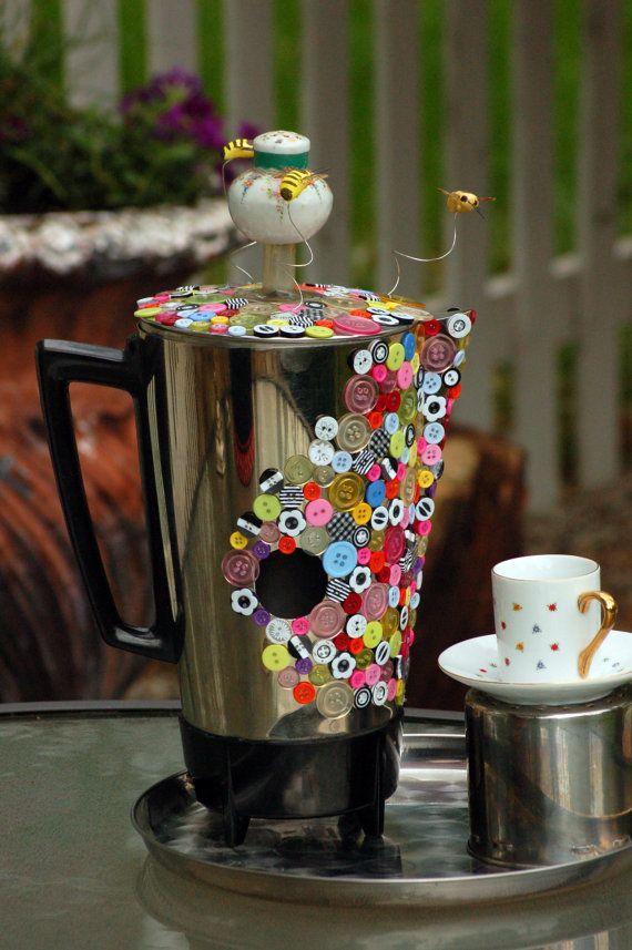 "Birdhouse Garden Art- ""BUSY BEE!""  (teapot coffeepot vintage up-cycling recycled metal garden folk art home decor Decorative)"