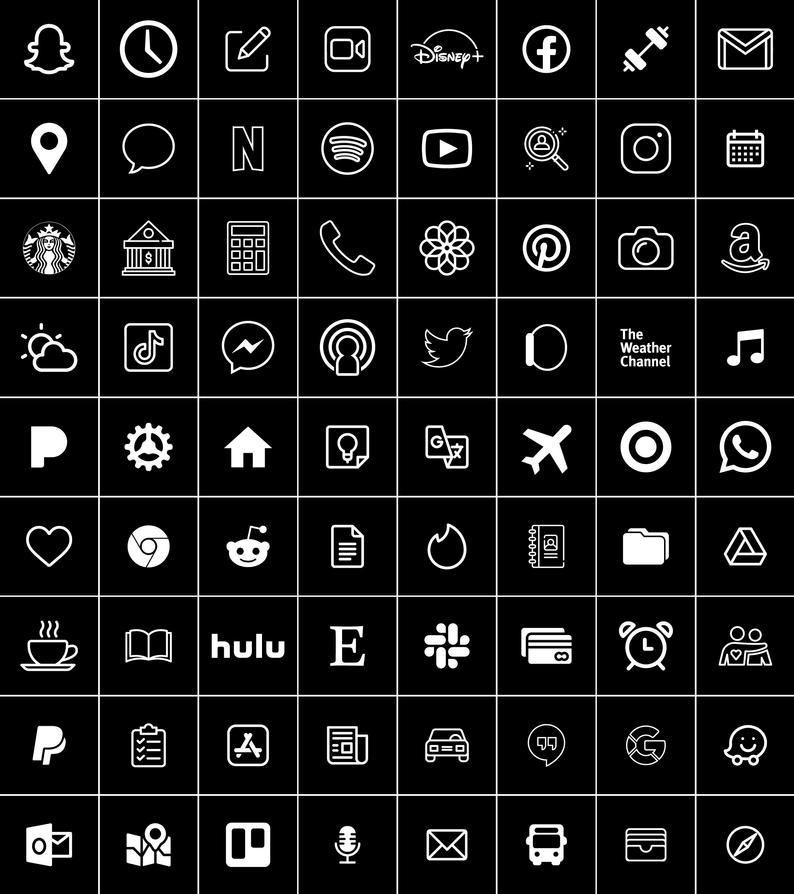 Black and White   300 Aesthetic Custom App icons p
