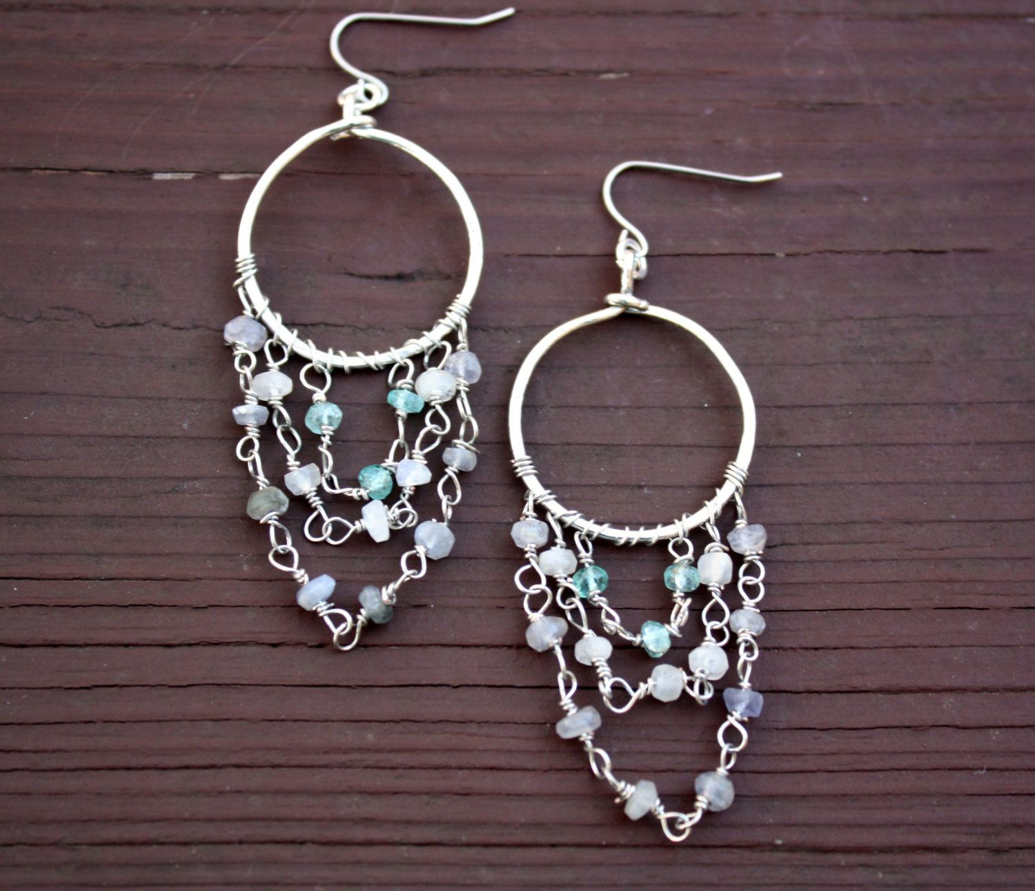 Juniper & Ponce: Chandelier Earrings with Moonstone and Quartz ...