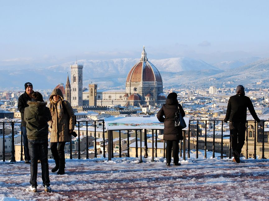 Italian Florence: Piazzale Michelangelo, Overlooking Florence, In The Snow