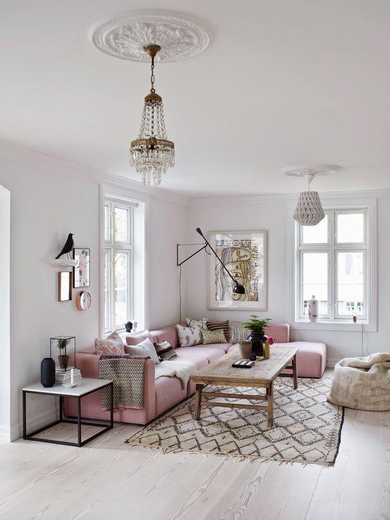 salon blanc et canapé rose poudre | chambre | Pinterest | Living ...