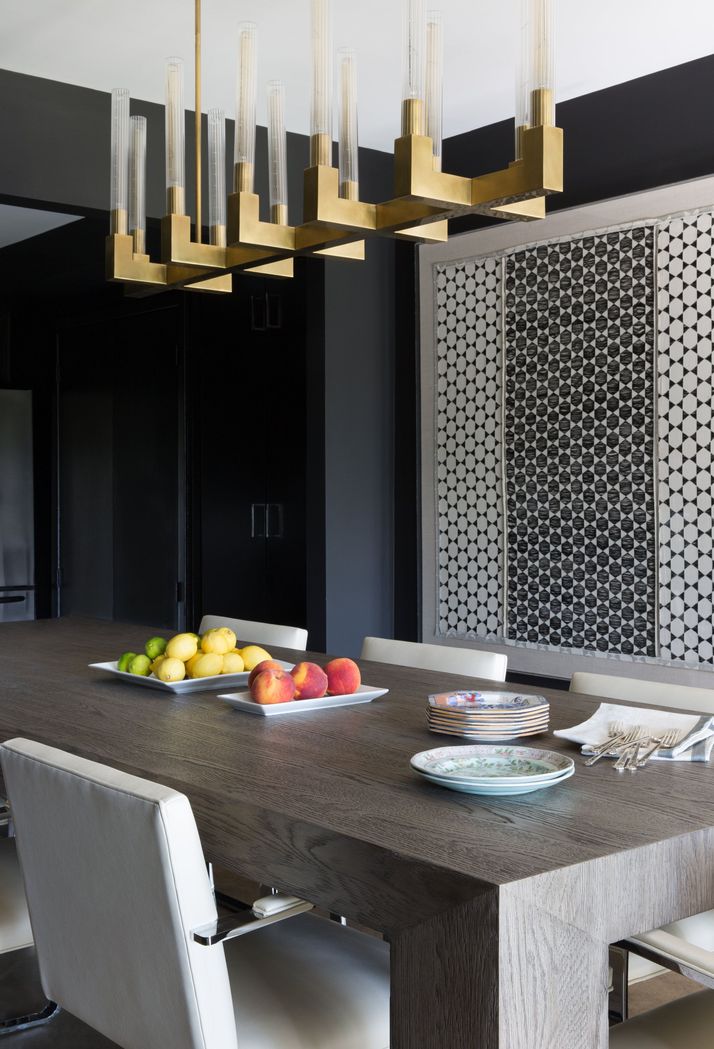 Moody Modern Dining Room With Amazing Gold Light Fixture Love The Idea Of Black Walls