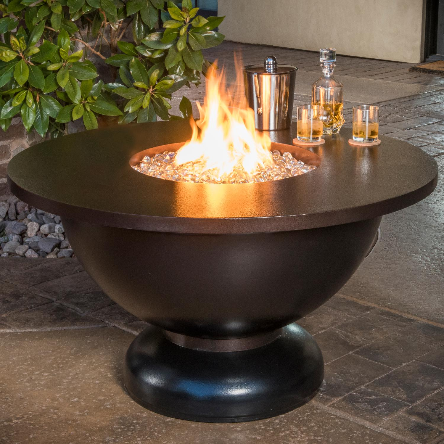 Cc products modish bowl inch round natural gas fire table black