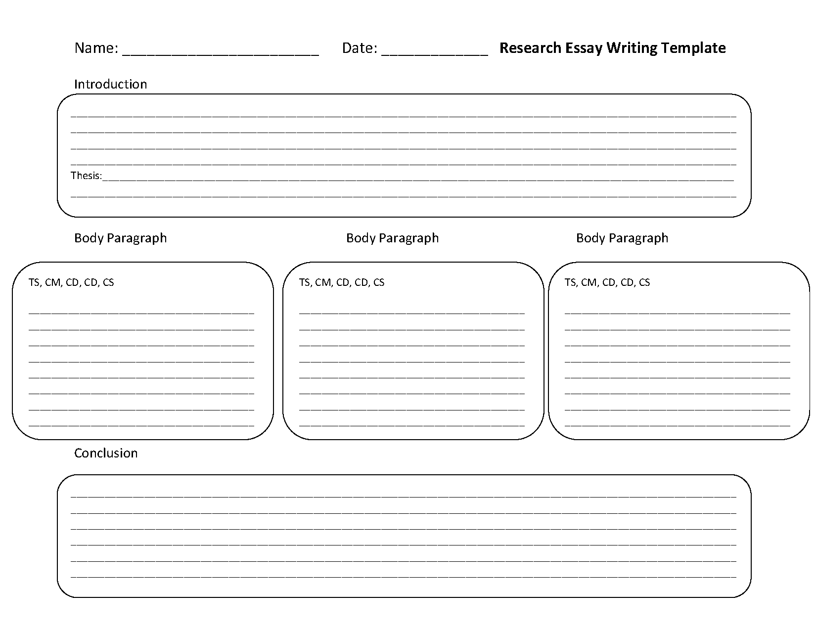 Research Essay Writing Template Worksheet