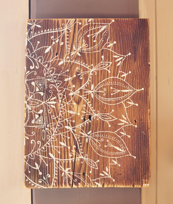 Eva lubart peinture mandala sur vieux bois mandala painting on old wood colonial for Peinture sur bois