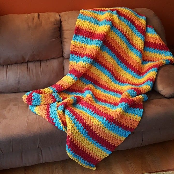 Bernat Blanket Stripes Rain Glow yarnspirations.com hibernate ...