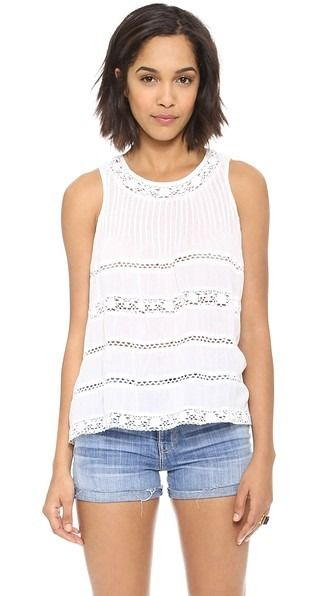 Crocheted lace lends a delicate feel to an airy Love Sam top. Vertical  pintucks detail the yoke, and a button closes the back keyhole. Sleeveless. 1549e6b7cf