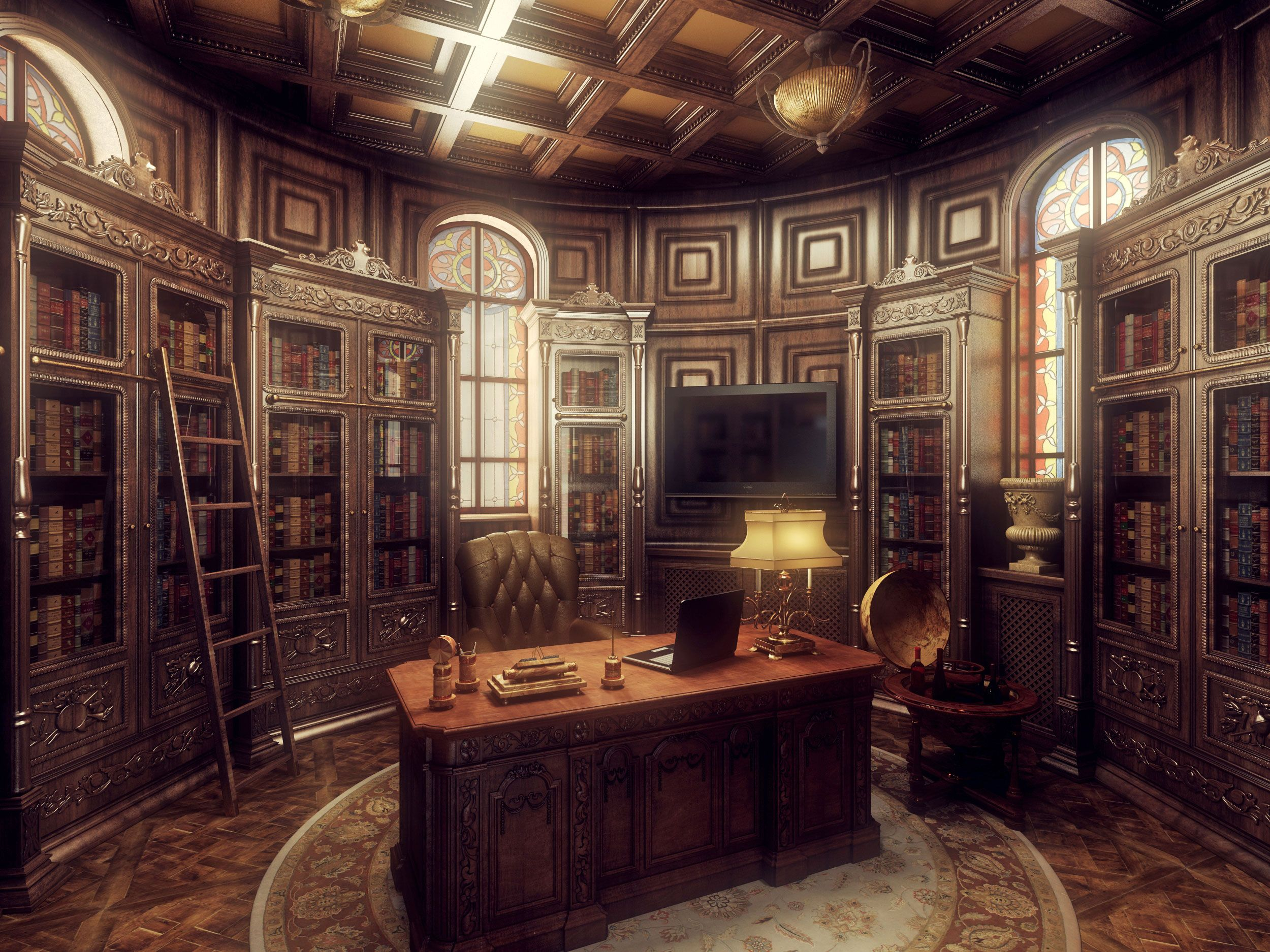 Steampunk Gothic Office