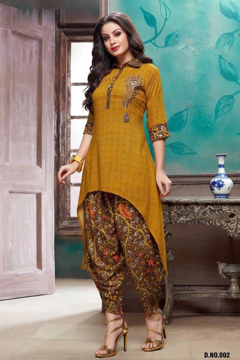 9c64c53cb8 Yellow-Fancy-Collar-Neck-Style-Rayon-Kurti-With-Dhoti-Style-Bottom-2-31083  Catalog No : 6050 WWW.LKFABKART.COM #wholesalekurtis  #wholesalekurtisupplier ...