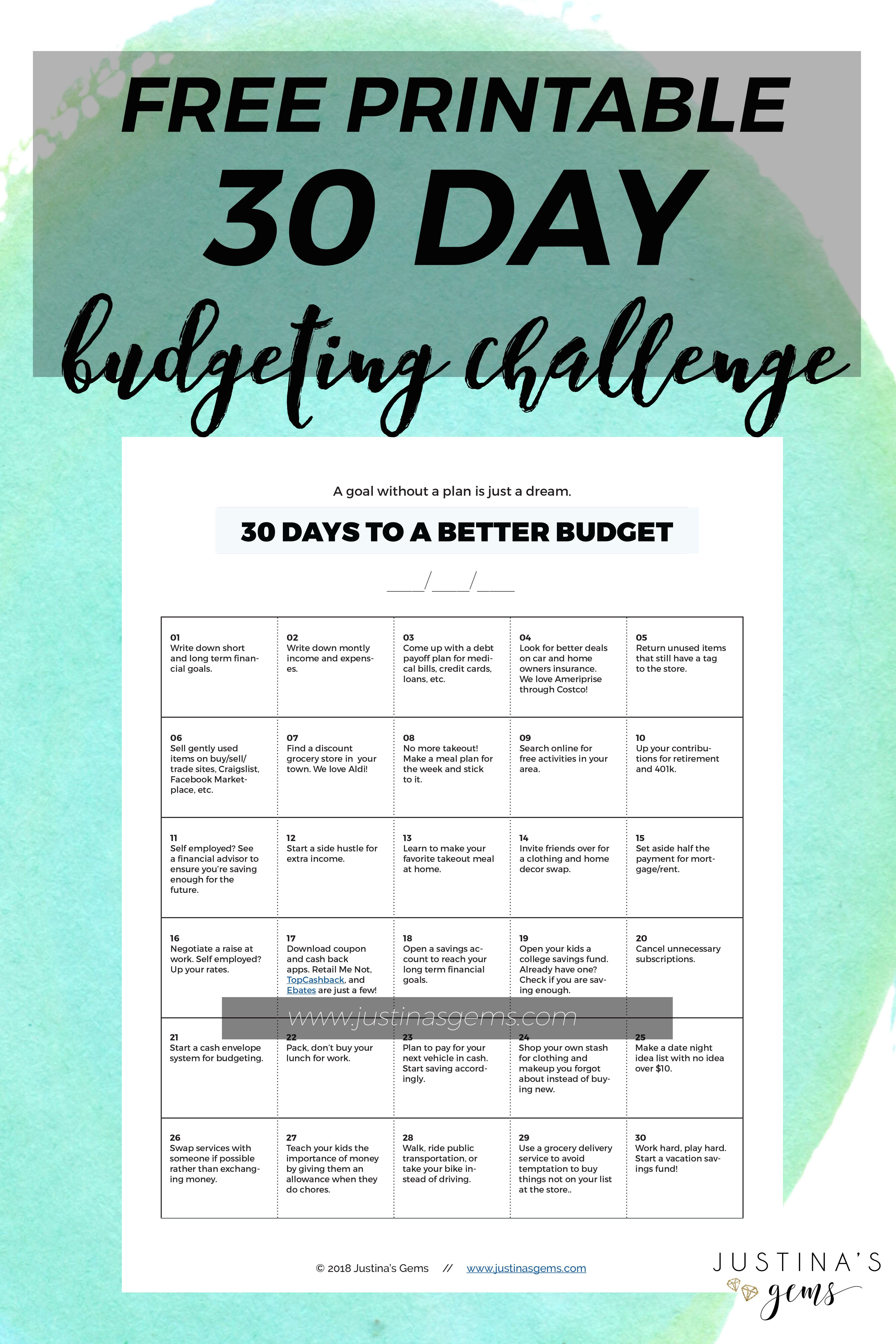 30 Days To A Better Budget Free Printable