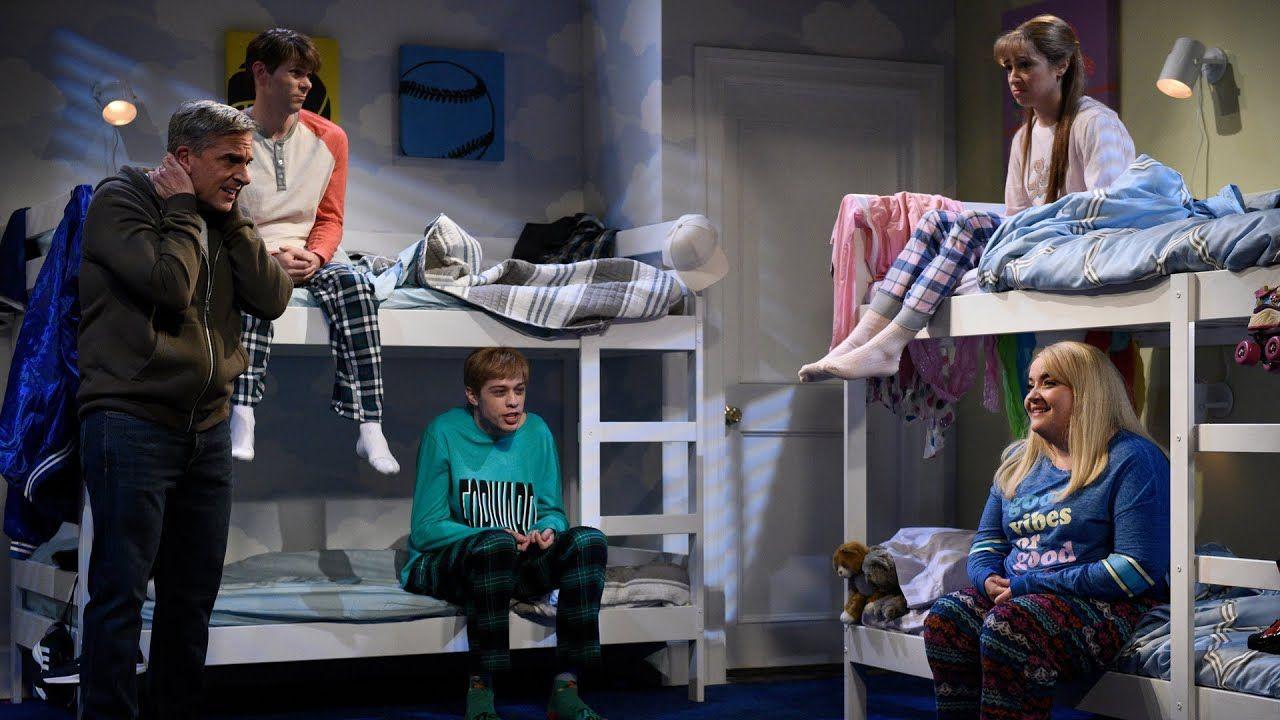 Disney SNL A dad (Steve Carell) wakes his kids (Aidy