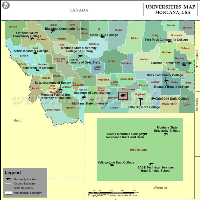 Universities Map Of Montana USA World News Pinterest - Map of usa with universities