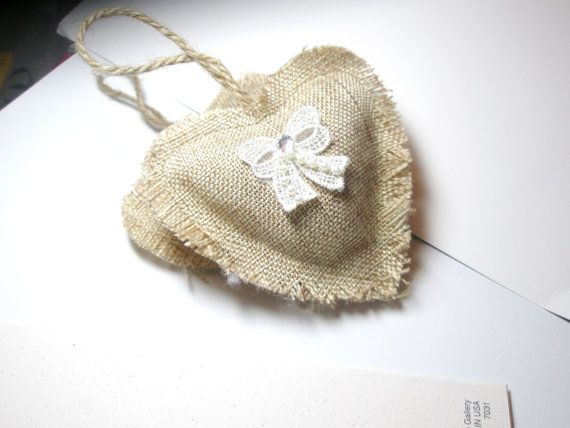 2 Beige Organic Lavender Sachets  Hearts Natural Home Decor for Drawer or Closet - bridesmaid Gift  Aromatherapy