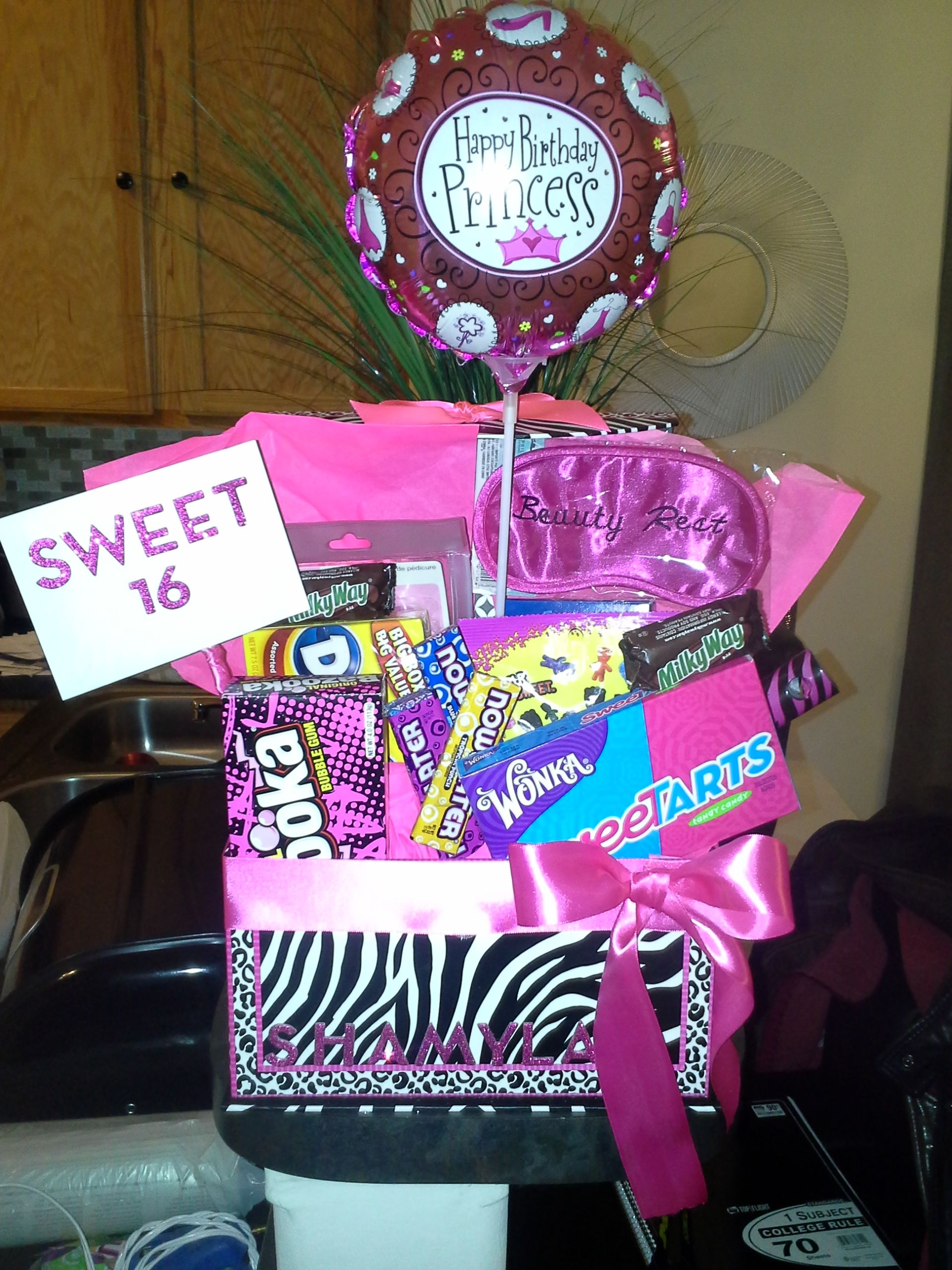 Personalized Sweet 16 Basket Candy, Balloon, Gift Card, And A
