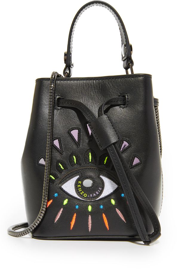 0d3835c87d $360 KENZO Mini Bucket Bag fashion, eye, colorful A petite KENZO bucket bag  with an embroidered eye graphic. Drawstring top. Leather-lined interior.