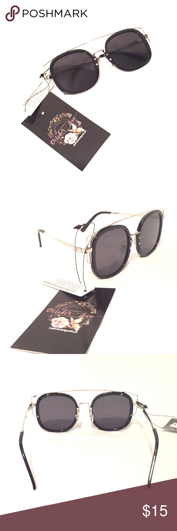 831e781de8 Black   Silver NWT Hipster Wide Frame Sunglasses NWT October Love boutique  brand. Black lens with silver accents. Bar over top of the lens as shown in  ...