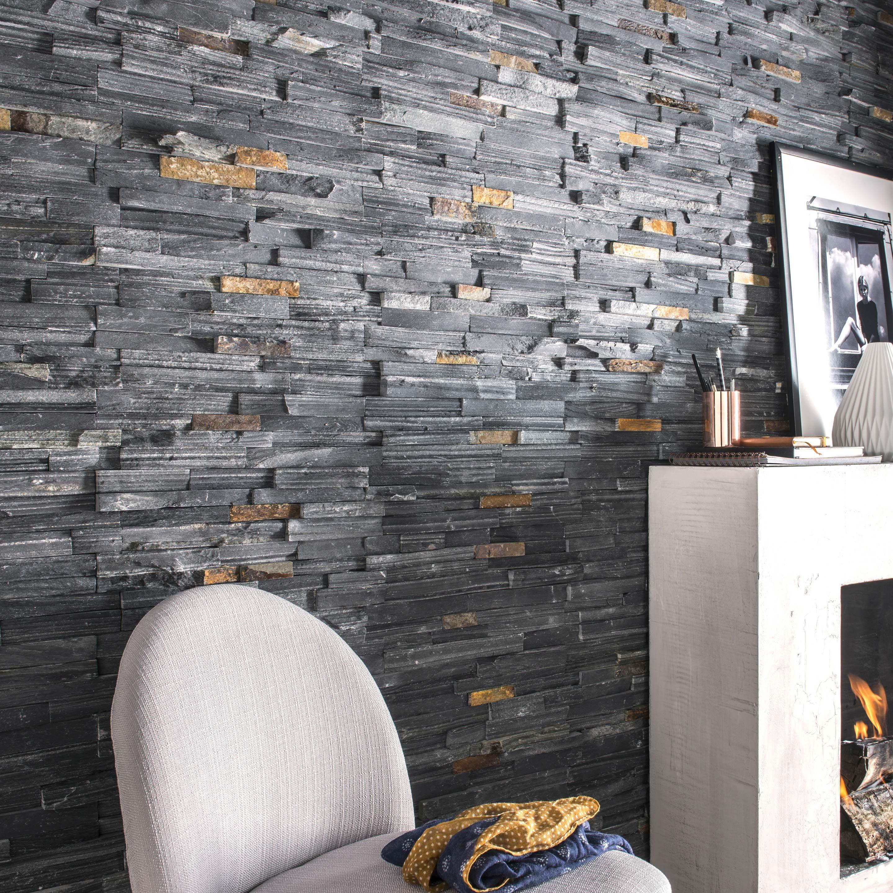 Mur Parement Interieur Ardoise plaquette de parement pierre naturelle noir ardois