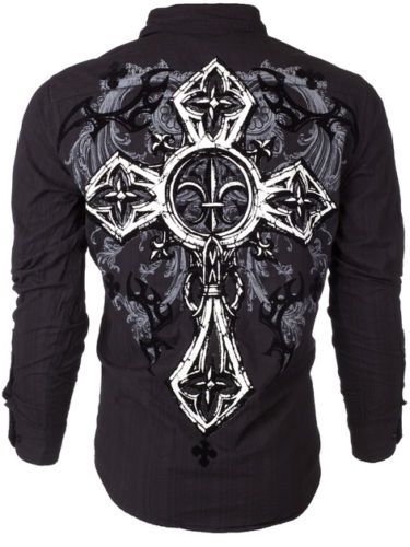 Xtreme Couture AFFLICTION Mens BUTTON DOWN Shirt CROSS TRIBE Roar UFC MXXL $78 is part of Clothes Mens Buttons -