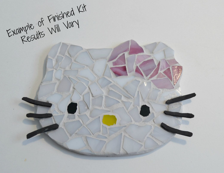 Hello kitty inspired mosaic kit by brokenart mosaic do it yourself hello kitty inspired mosaic kit by brokenart mosaic do it yourself kit gift home decor geekery solutioingenieria Choice Image