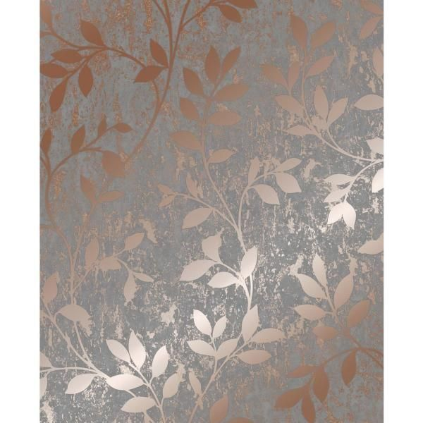 Super Fresco Milan Trail Rose Gold And Grey Removable Wallpaper