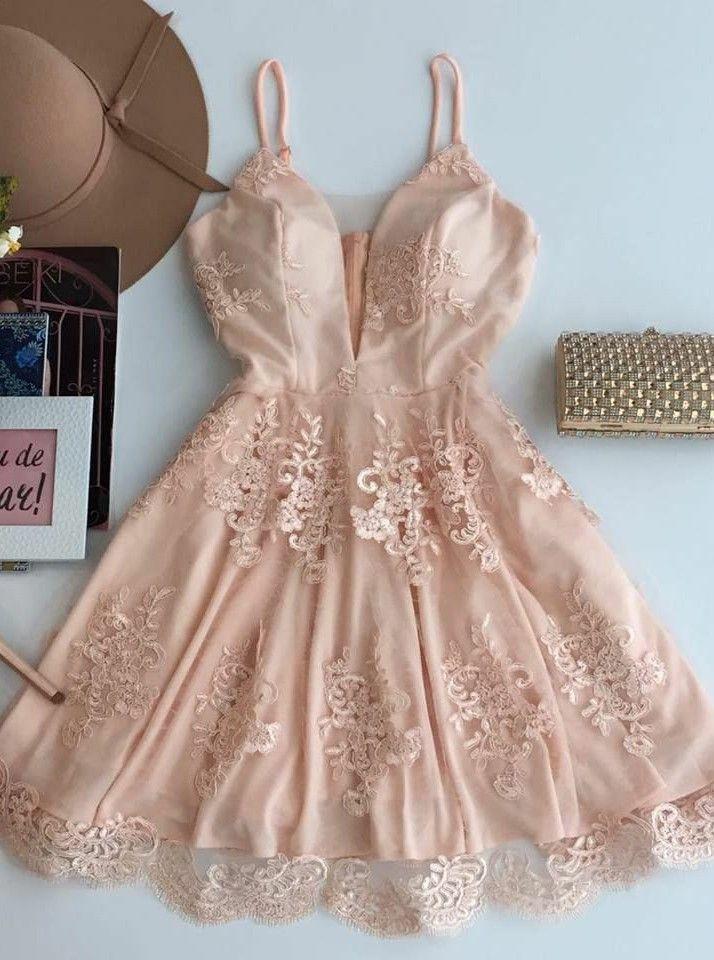 93abfddfe0d0 cute homecoming dresses, light pink homecoming dresses, spaghetti straps  homecoming dresses, applique homecoming dresses, short prom dresses, formal  dresses ...