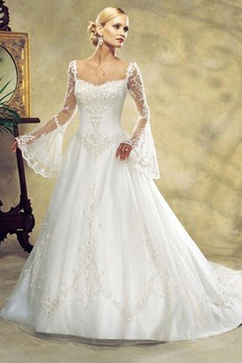 Long sleeve plus size wedding dress  Aline Square Chapel Train Bell Tulle Plus Size Wedding Dress For